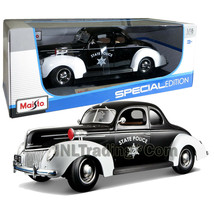 Maisto Special Edition 1:18 Die Cast Black White Police Coupe 1939 FORD ... - $46.99