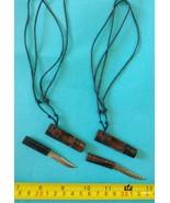 2 Mini Knife Filipino bolo  pendant necklace miniature blade tribal New - $26.98