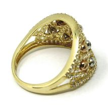SOLID 18K YELLOW WHITE ROSE GOLD BAND RING WITH CUBIC ZIRCONIA, FACETED BALLS image 4