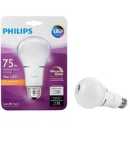 4 Bulbs Philips LED 75W Equivalent Soft White Household A21 Dimmable War... - $39.88