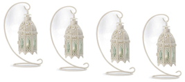 Four (4) hanging white metal green glass table candleholder lanterns & s... - $39.00