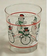 Libbey Christmas Snowman Double Old Fashion Glass Snow Flakes Red Lines ... - $16.82