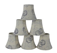 Urbanest Set of 6 Natural Linen with Blue Script Bell Chandelier Lamp Shade, 3-i - $34.65