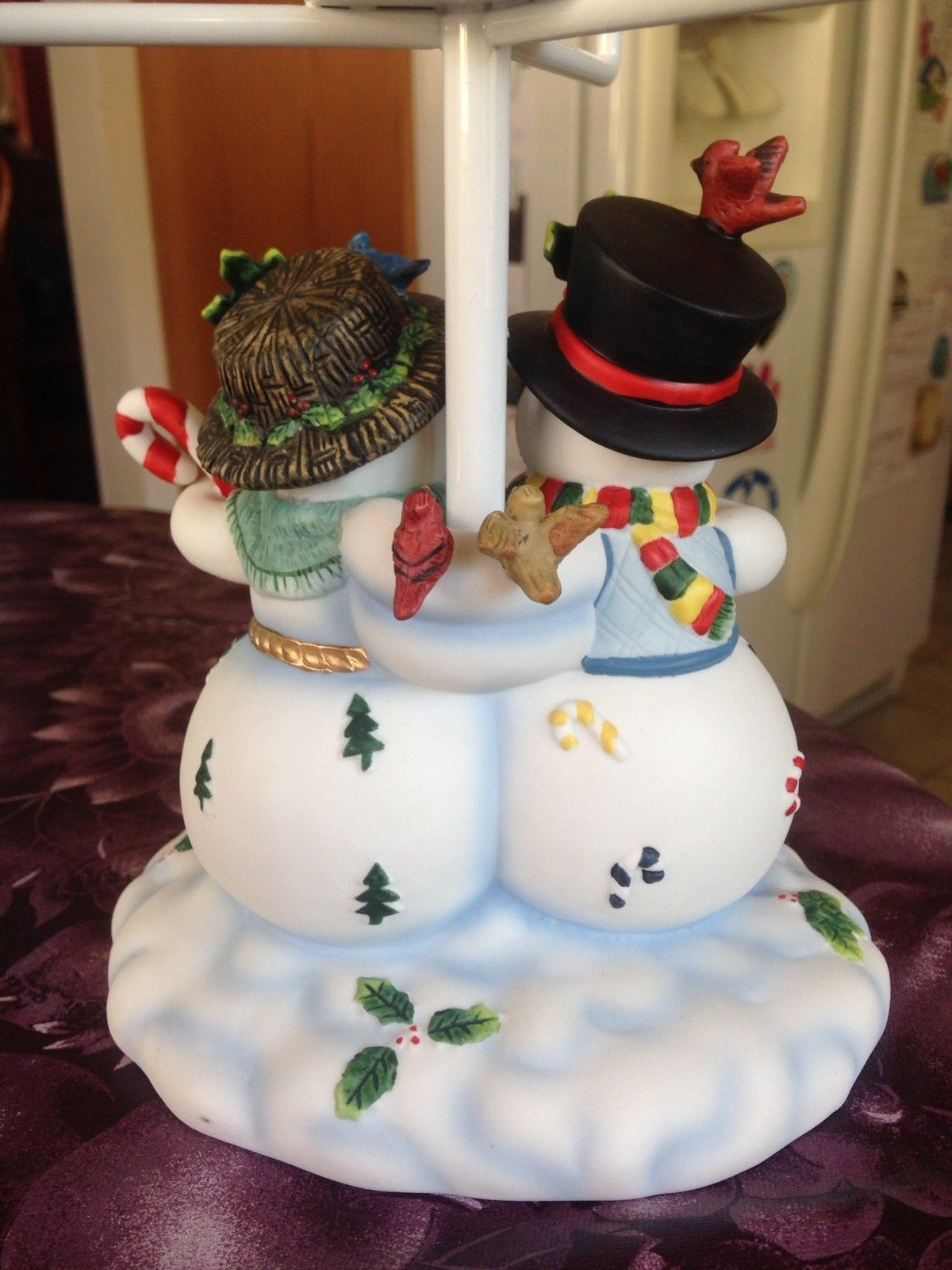 Large Partylite Holiday Xmas Snowman Family Tealight Lamp Rare Retired Brand New