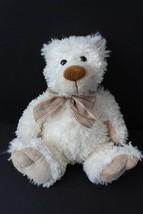Ty White Cream Teddy Bear Plush Stuffed 2009 Plaid Bow Tan Ear Nose Hand... - $15.95