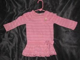 Juicy Couture Baby Girl Pink Drop Waist Ruffle Dress 12-18 Gold Logo Spa... - $14.84
