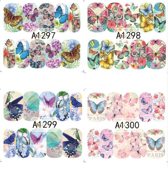 """HS Store -1 Sheets Nail Sticker Butterfly """"A1298"""" Nail Decorations UV Gel Polish"""