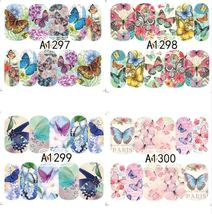 """HS Store -1 Sheets Nail Sticker Butterfly """"A1298"""" Nail Decorations UV Gel Polish image 3"""