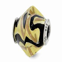 Sterling Silver s Yellow/black Italian Murano Glass Bead by Reflection B... - $29.44