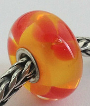 Authentic Trollbeads Murano Glass Retired Red Flower Bead Charm 61308, N... - $24.93
