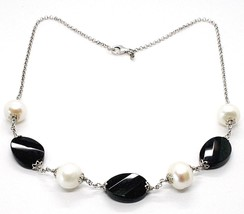 925 Silver Necklace, Black Onyx Oval Faceted, Pearls, 44 CM, Chain Rolo image 1