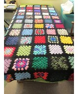 Handcrafted Twin Size Granny Square Afghan Black Trim Large Squares - $125.00