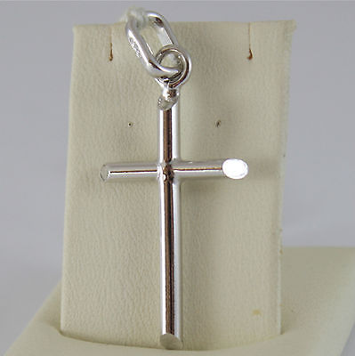 SOLID 18K RHODIUM WHITE GOLD CROSS, PENDANT, STYLIZED, TUBE, MADE IN ITALY
