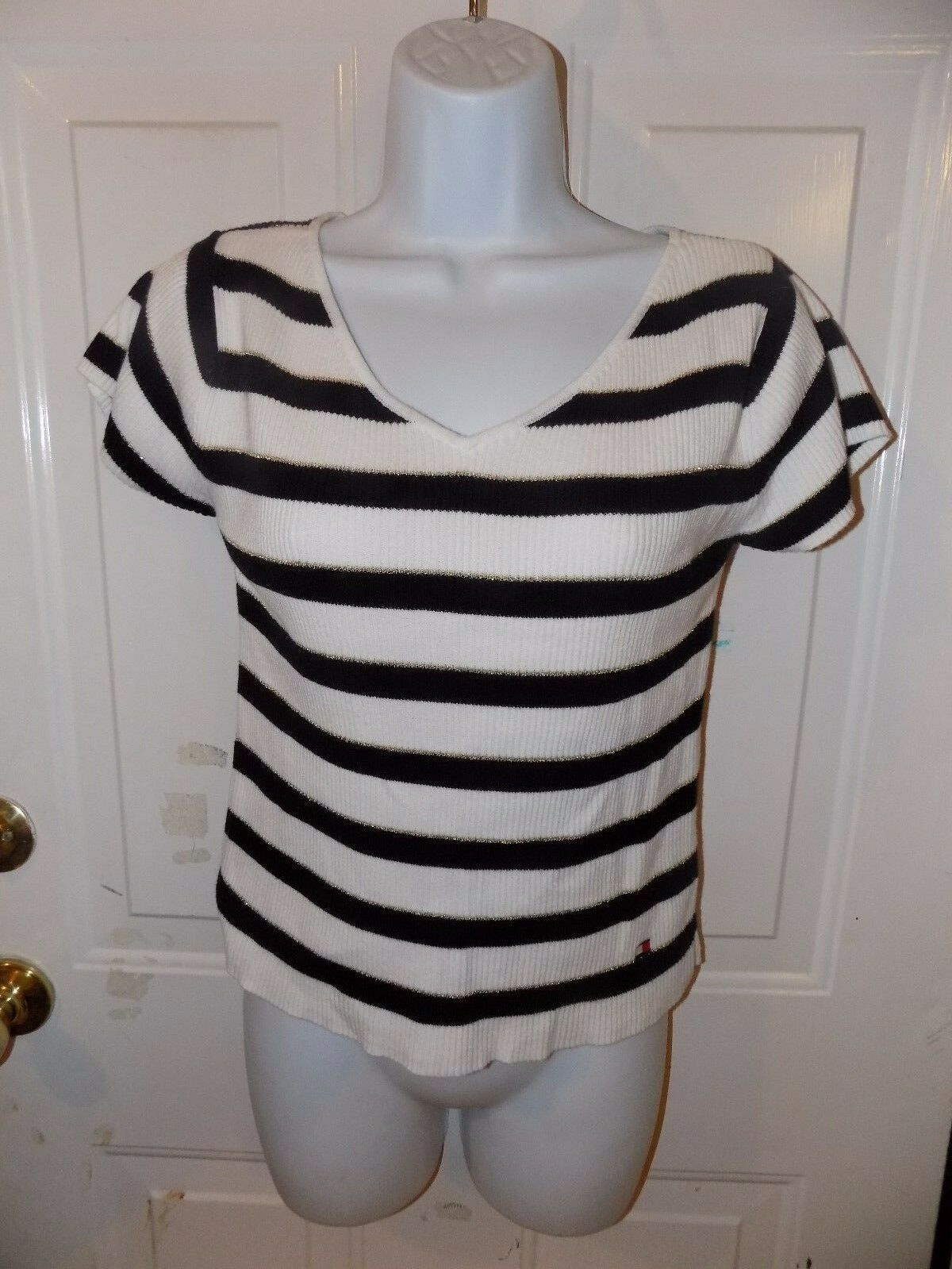Primary image for TOMMY HILFIGER STRIPED V-NECK SHORT SLEEVE SWEATER SIZE M WOMEN'S EUC