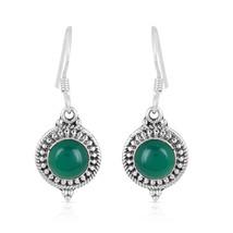 Green Onyx Earring, 925 Silver Earring, Round Shape, Gemstone Dangle Ear... - $14.99