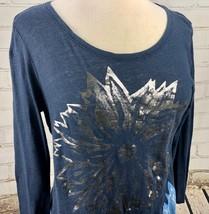 Lucky Brand Top T-Shirt Women's S Loose Fit Lightweight Linen Cotton Knit Flower image 2