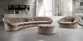 Soflex Miami Luxurious Modern Beige Fabric Crystals Tufted Sectional Sofa Set 3P