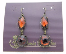 Premier Designs Bejeweled Topaz Rhinestone Gold Tone Dangle Earrings 30558 - $13.85