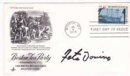 FATS DOMINO AUTOGRAPH ON BOSTON TEA PARTY US FIRST DAY COVER  - $9.48