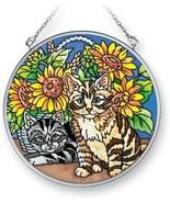 """Sunflower Kittens Sun Catcher AMIA Hand Painted Glass 4.5"""" Round New Cat - $21.77"""