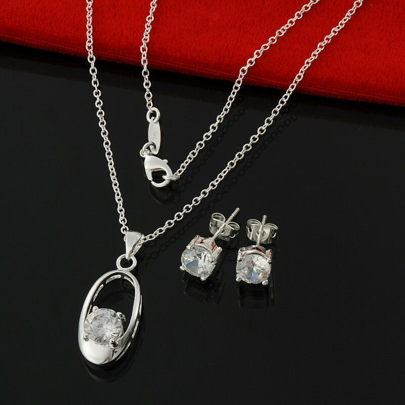 Primary image for Egg CZ Stones Pendant Necklace and Earrings Set 925 Sterling Silver NEW