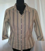Express Stretch BUTTON UP BLOUSE SHIRT 3/4 Sleeve Size 6 Blue Tan Stripe... - $5.89