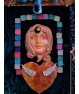 "Polymer clay sculpture, mixed media mosaic, wall art  ""The Reflection"" - $29.00"