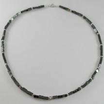 Halskette Giadan aus Silber 925 Hämatit Glänzend und 8 Rauten Weiß Made in Italy image 1