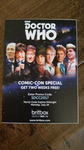 2017 Sdcc Comic Con Exclusive Swag BBC Doctor Who Britbox Promo Karte - $14.83