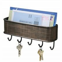 Key Holder Mail Rack Entryway Shelf Wall Mount Hooks Letter Key Sorter O... - $15.83