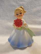 Vintage Japan Ceramic Christmas Poinsettia Girl Figurine - $19.95