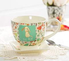 "Pavilion Gift Company 54006""A Mother's Love-Dog Mom"" Floral Soup Bowl Mug, Teal, image 5"