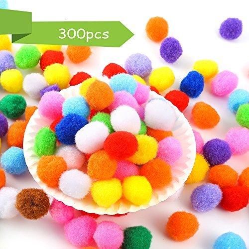 Caydo 300 Pieces 1 Inch Assorted Pompoms Multicolor Arts and Crafts Pom Poms Bal