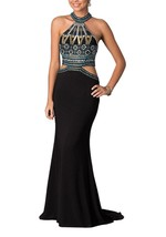 Womens Sexy Prom Dresses Long Formal Evening Gowns Halter Sleeveless Beading - $226.00