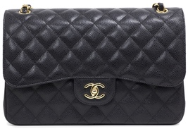 BRAND NEW AUTHENTIC CHANEL 2017 BLACK QUILTED CAVIAR JUMBO DOUBLE FLAP BAG GHW