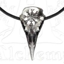 Aegishjalmur Raven Skull Necklace, Alchemy Gothic - Norse Helm of Awe Rune Stave - $36.00