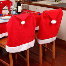 6pcs Santa Red Hat Christmas Chair Covers Dining Decoration Back Protect... - $16.23