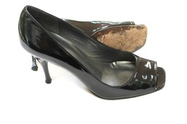 Stuart Weitzman Black Patent Leather Shoes Peep Toe Stiletto Heels Size 7 M - $28.71