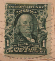 Rare Antique 1902 Benjamin Franklin Green One Cent Stamp - (sku#1693) - $99.99