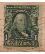 Rare Antique Benjamin Franklin Green One Cent Stamp - (sku#1693) - $129.99