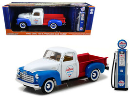 1950 GMC 150 Pickup Truck Chevron with Vintage Gas Pump 1/18 Diecast Model - $75.43