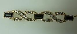 Narrow Lapel Pin, Black & Gold Tone With Rhinestones - $11.64