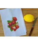 "Vintage Inspired Strawberry Flour Sack Tea Towel 15"" x 25"", Strawberries... - $10.99"