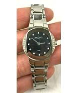 RUNS Skagen Black Dial Swarovski Crystal Stainless Steel Women's Watch 6... - $59.99