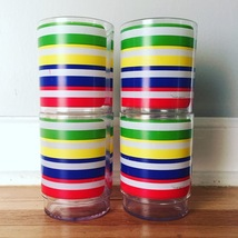 Vintage 70s Morgan Lucite Cocktail Glasses - Rainbow Stripe Design