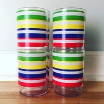 Vintage 70s Morgan Lucite Cocktail Glasses - Rainbow Stripe Design image 1