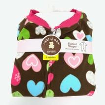 Child Of Mine Carters Girls Micro Fleece Blanket Sleeper Pajamas 3T Hearts NEW - $10.35