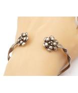 925 Sterling Silver - Vintage Flower End Twist Designed Cuff Bracelet - ... - $42.50