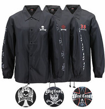 Men's Biker Skull Water Resistant Lightweight Button Up West Coast Coach Jacket