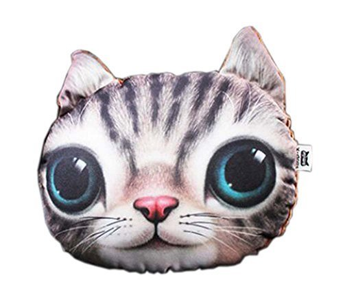 3D Cute Pet Dogs and Cats Face Head Pillow, Lovely Cat